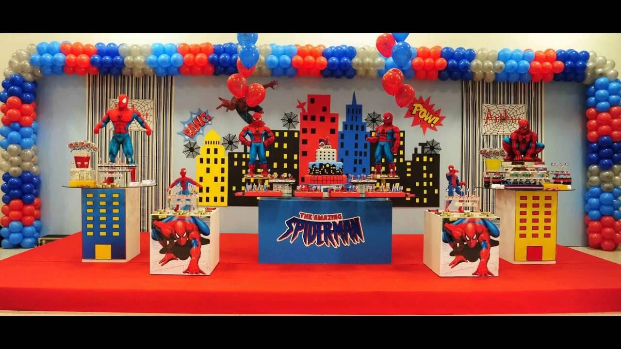 Festa do Homem Aranha Decoraç u00e3o de festa infantil YouTube -> Decoração De Festa Simples Homem Aranha