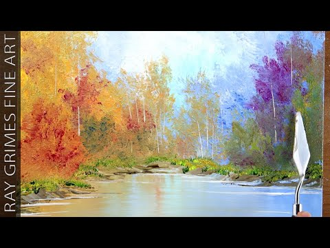 Peaceful Landscape / Easy for Beginners / Acrylics / Abstract Painting Demonstration / 021