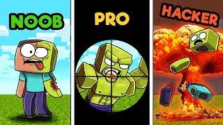 Minecraft - ZOMBIE HUNTER CHALLENGE! (NOOB vs. PRO vs. HACKER)