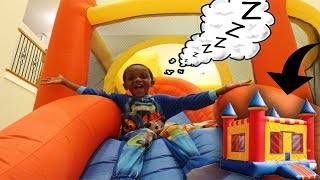 OVERNIGHT CHALLENGE IN MY BOUNCE HOUSE!!! (HIDING FROM MOM)