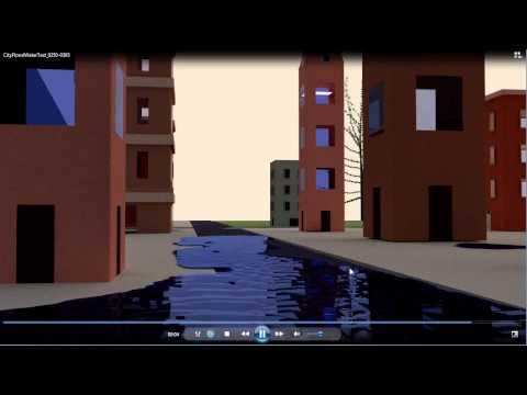 Blender Fluid Simulation - City Flood Tidal Wave - Render Test