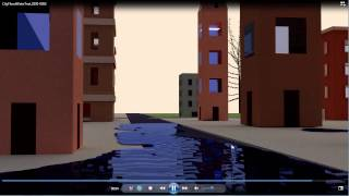 Blender Fluid Simulation - City Flood Tidal Wave - Render Test