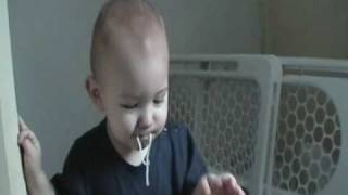 Elliot eats spaghetti and talks