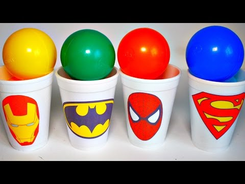 Thumbnail: Balls Surprise Cups Spiderman Iron Man Superman Batman Marvel Surprise Eggs LEARNING COLORS