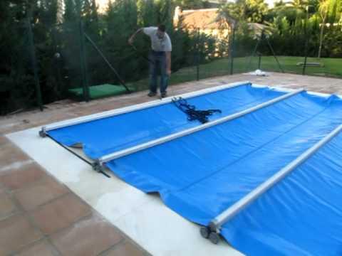Cubierta automatica de barras video de cierre piscina de for Cubiertas de lona para piscinas