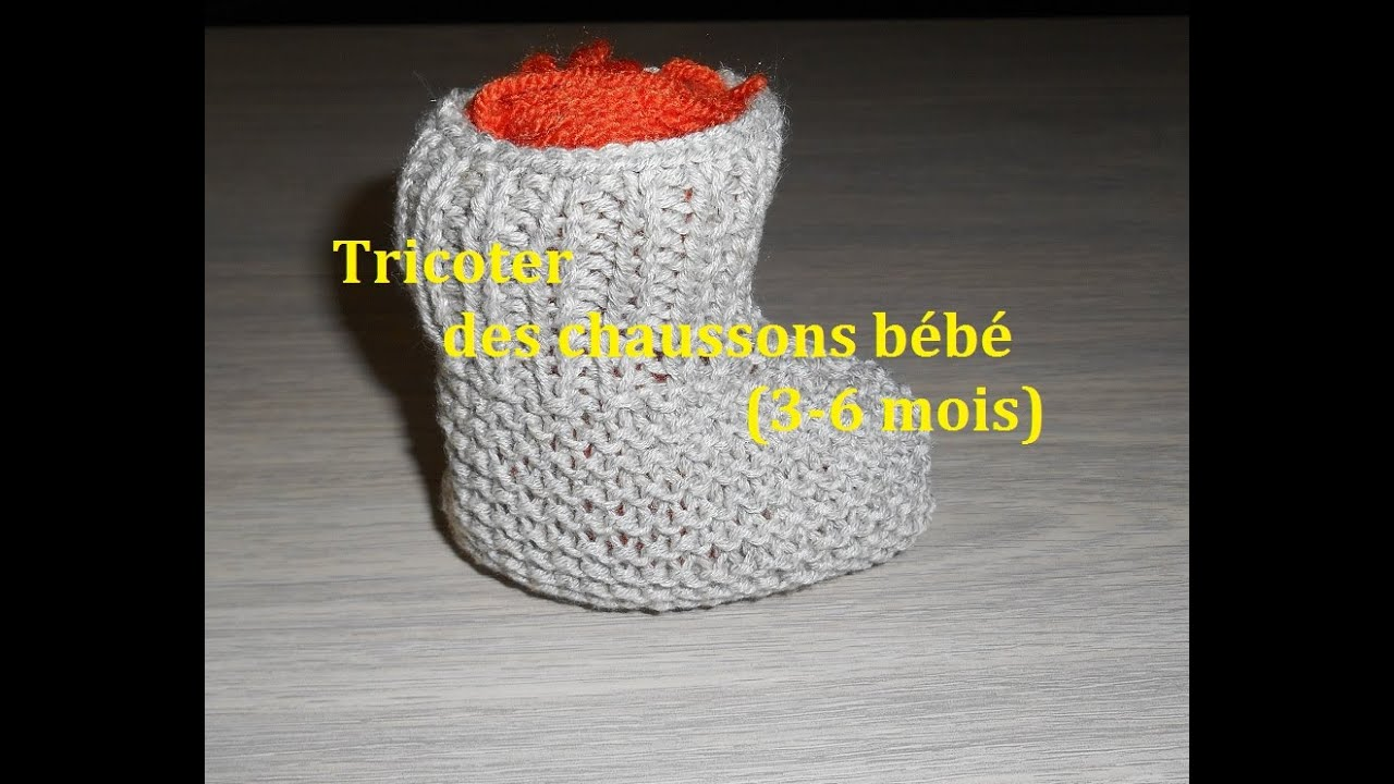 6cde1309b8e23 Tricoter des chaussons bebe 3-6 mois.( Facile et rapide) - YouTube