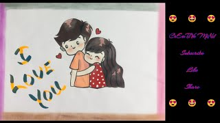    SERIES 3.3    How to draw CUTE COUPLE    I LOVE YOU    Drawing love   