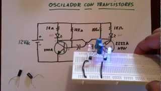 ✅ LED OSCILADOR CON TRANSISTORES (Plano)