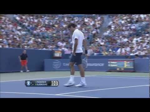 Thumbnail: Djokovic roars, tries to hit Federer at the net