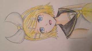 Drawing Rin Kagamine on paper