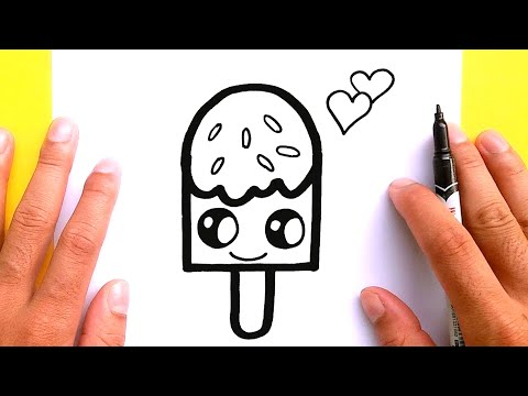 How to draw cute Ice cream for Valentine's Day, Draw cute things