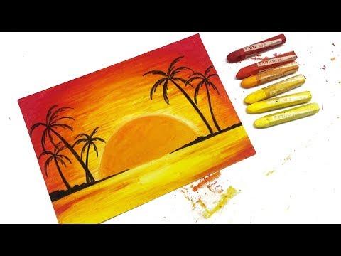 Download Cara Menggambar Dan Mewarnai Pemandangan Sunset Dan Pantai