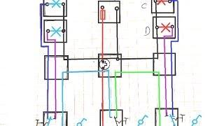 تشغيل 4 مصابيح بشكل متقطع والتبديل بينها بواسطة 3 مفاتيح طرف سلم Fadi