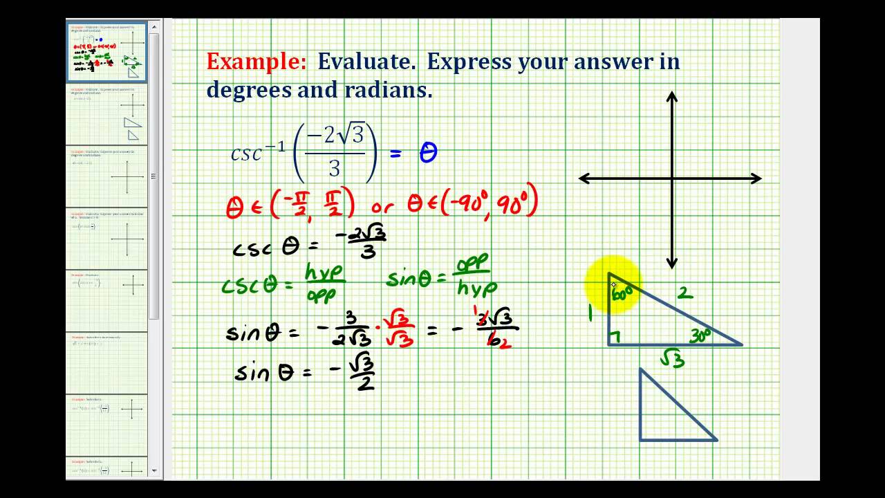 Ex Evaluate Inverse Cosecant Without A Calculator Youtube