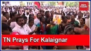 Karunanidhi's Supporters From Across Tamil Nadu Flock To Chennai's Kauvery Hospital