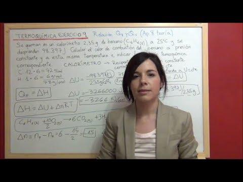 TERMOQUIMICA Ejercicio 9 - Relación Qp y Qv para la reacción de combustión del benceno