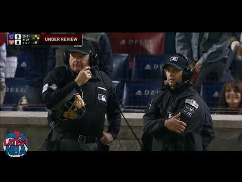 Nationals tagged out in 8th inning as rule is overturned - Game 5 NLDS Cubs  vs Nationals 2017