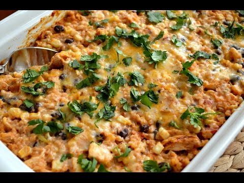 Brown Rice & Bean Bake Mexican Chicken