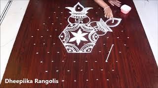varalakshmi vratham special kalasam muggulu with 11x6 dots l friday kolam design l easy rangoli