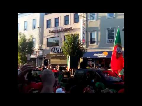 EURO 2016: Fans sing the national anthem after winning EURO on Ferry St Newark, NJ (July 10, 2016)
