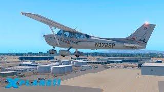 ПИЛОТНЫЙ ВЫПУСК / KLAX (Los Angeles International) - KLGB / CESSNA 172   X-Plane 11 #1
