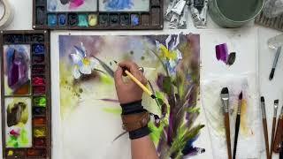 Irises with abstract elements in watercolor - Букет цветов с элементами абстракции акварелью