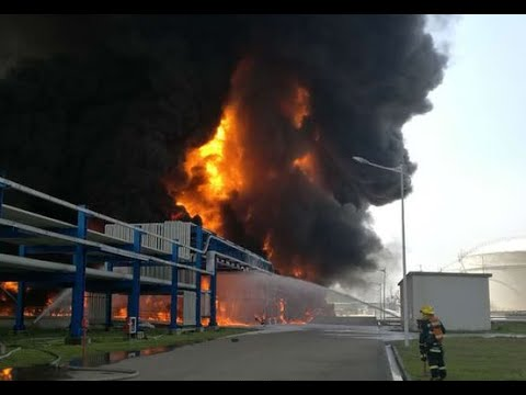 Huge explosion & fire at chemical warehouse in eastern China