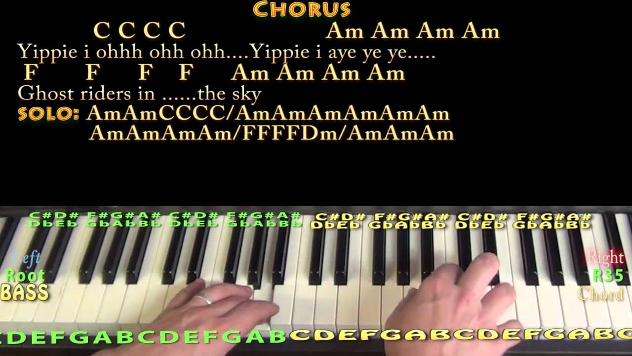 Ghost Riders in the Sky   Piano Cover Lesson in Am with Chords/Lyrics