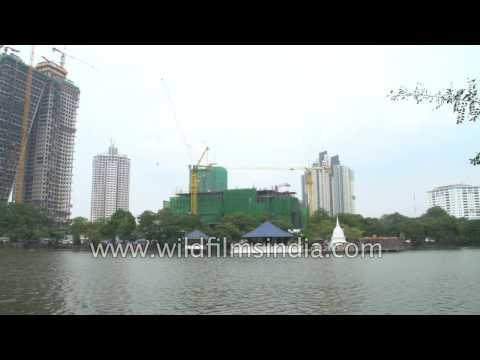 Modern Colombo: high rise building near Gangaramaya Temple