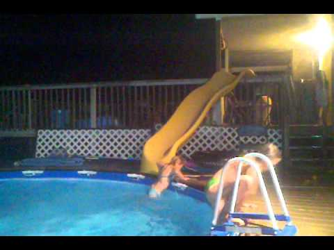 my kids playing pool slide - Diy Above Ground Pool Slide