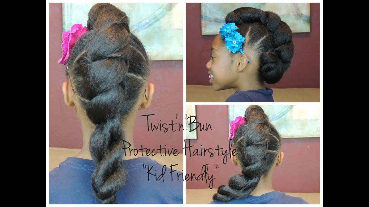 twist'n'bun protective hairstyle (kid friendly) - youtube