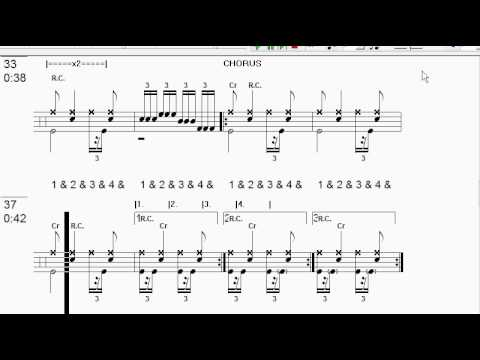 "Guitar kryptonite guitar tabs : Drum tab for ""Kryptonite"" by ""3 Doors Down"" - YouTube"