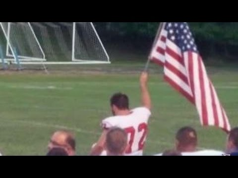 High school football player's patriotism goes viral