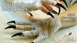 ASMR Latex gloves & black nails