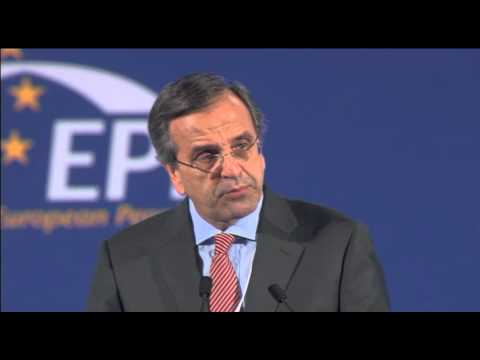 Greece's PM Antonis Samaras delivers his speech to the EPP Congress in Bucharest