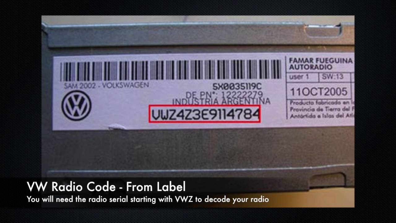 volkswagen vw radio codes  serial number vwz golf