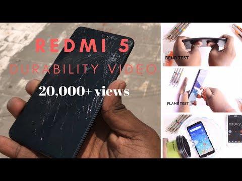 Xiaomi Redmi 5 - Durability Test  - Drop test, Scratch test ,Water test, Flame test & Bend test