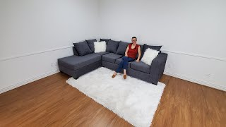 Style Vibe Sydney Grey Sectional Sofa   The Savvy Shopping Network