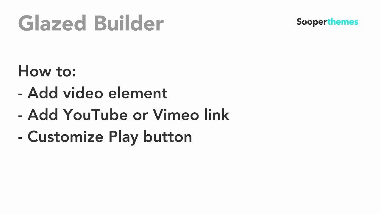 Video element glazed builder drupal tutorial youtube.