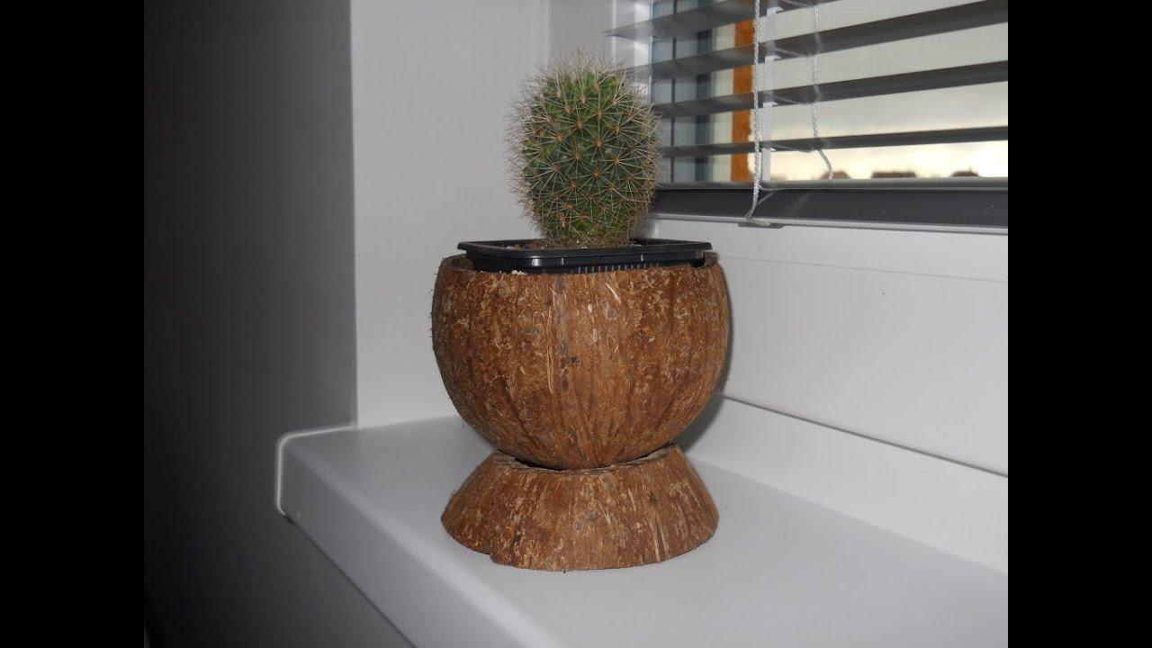 Coconut flower pot - YouTube on plumeria flower vase, candy cane flower vase, one flower vase, waffle cone flower vase, pumpkin flower vase, candy corn flower vase,