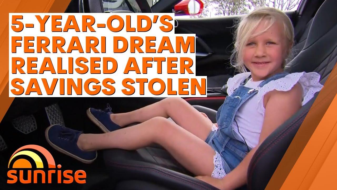 Little girl's Ferrari dream realised after heartless thief steals her savings | 7NEWS