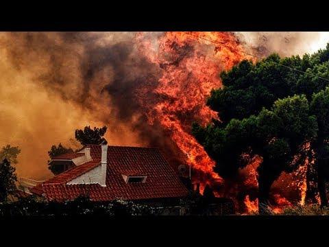 Dramatic footage reveals devastation of Greece's wildfire