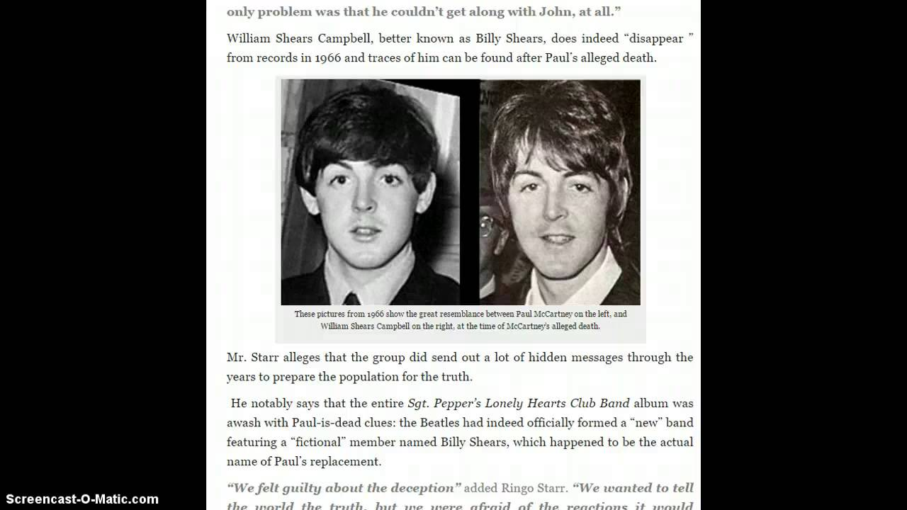 Ringo Starr: The Real Paul McCartney Died In 1966 ...