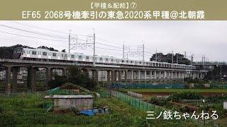 【甲種&配給】⑦ EF65 2068号機牽引の東急2020系甲種(定点撮影@北朝霞) 2020年