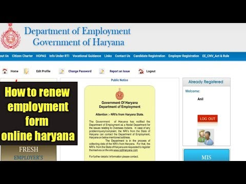 How to renew employment form online Haryana