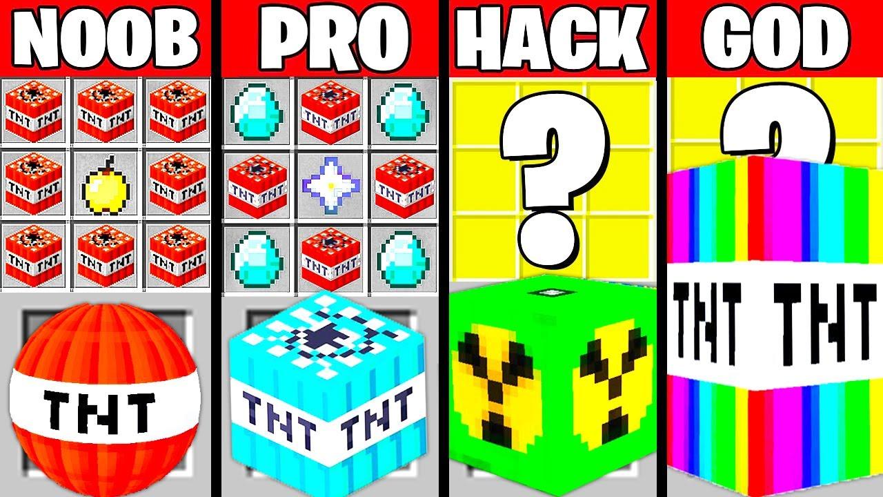 Minecraft Battle: SUPER TNT MOD CRAFTING CHALLENGE - NOOB vs PRO vs HACKER vs GOD ~ Funny Animation