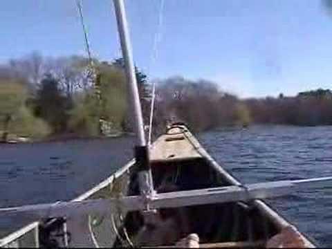 Canoe Sail Kit from SailboatsToGo.com Flies Across Lake - YouTube