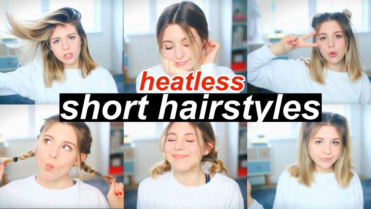 6 Heatless Hairstyles For Short Hair Youtube