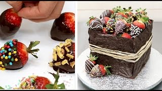 CHOCOLATE HACKS Strawberry Box Cake Easy Chocolate Technique by Cakes Step by Step