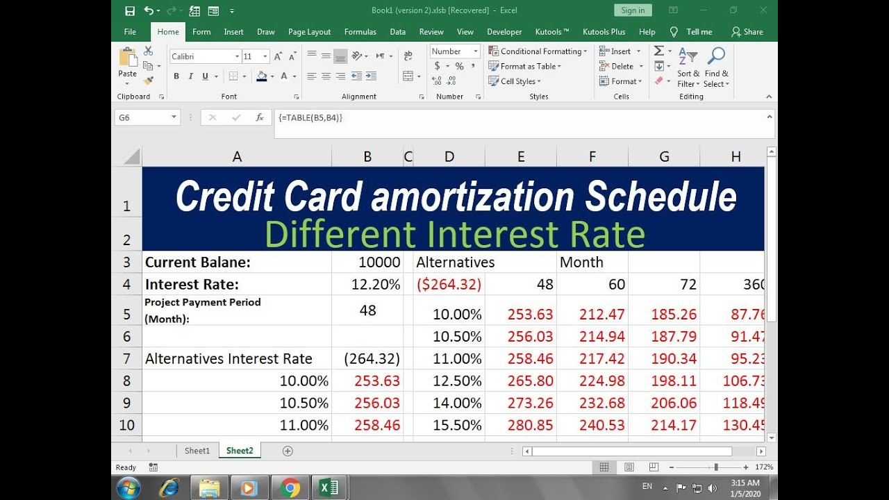 how to make a credit card amortization schedule excel